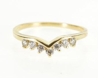 14K Cubic Zirconia Curved Chevron Wedding Band Ring Size 10 Yellow Gold