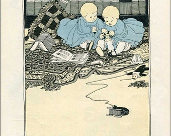 Vintage 1930's Twins Illustration Bookplate Print for Framing, Lucy Fitch Perkins, Twins Playing, Nursery Print, Twins