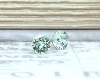 Green Crystal Studs Crystal Stud Earrings 6mm Studs Light Green Studs Swarovski Studs Surgical Steel Studs