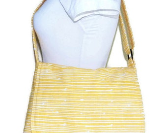 Yellow Messenger Bag, Handmade Messenger Bag, Fabric Messenger Bag, Yellow Crossbody Bag, Crossbody Bag, Women Messenger, Girls Crossbody