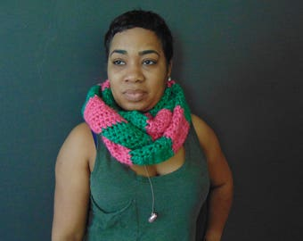 Pink and Green AKA Infinity Scarf