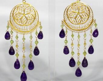Handmade 22K Gold Vermeil Filigree Chandelier Earrings with Peridot, Citrine, and amethyst briolettes