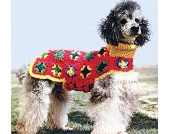 Vintage Dog Granny Square Coat crochet pattern in PDF instant download version , PDF downloadable