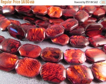 ON SALE 20% OFF Red Abalone Shell Laminated Octagon Beads 21pcs