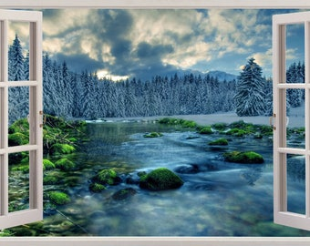 Blue River and Forest Winter Scene 3D Effect Wall Sticker Art Decal 643