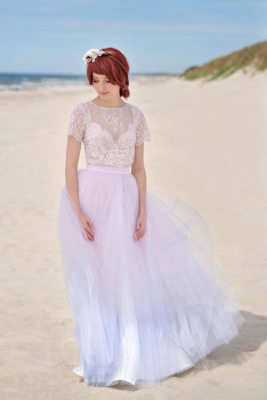 Ruhe Ombre Hochzeitskleid / Spitze und Tüll Brautkleid Kleid