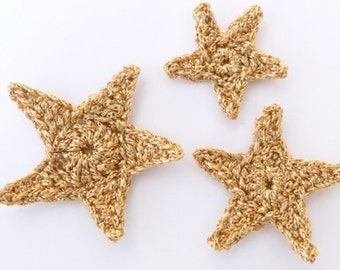 Crochet stars, Christmas appliques, 3 gold applique stars , cardmaking, scrapbooking, appliques, craft embellishments, sewing accessories