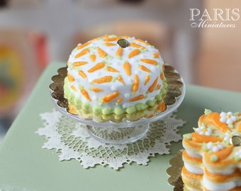 MTO-Easter Cake with Hand-piped Carrot Decoration - Miniature Food in 12th Scale for Dollhouse