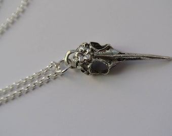 Silver bird skull pendant with chain