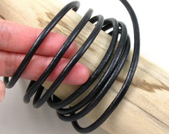 4mm Leather cord in Black . 3 feet . High quality genuine leather