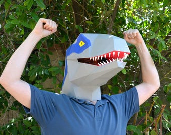 Velociraptor Dinosaur Mask - You Supply the Paper, We Supply the Pattern! | Halloween Mask | Dinosaur Mask | Jurassic Park | Jurassic World