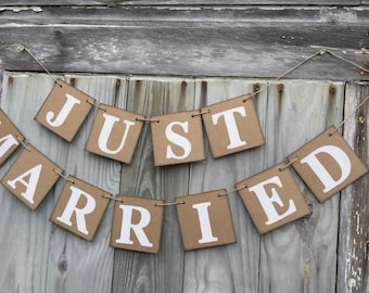 JUST MARRIED Car Sign -  Wedding Decorations - Just Married Banner - Barn Wedding Decor -Photo Prop Great for the Back of Your Car