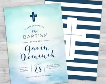 Baptism Invitation Boy, Christening Invitation, Baptism Invitation Printable, Christening Invitation Boy Confirmation Invitation Boy Baptism