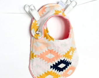 Baby Girl Bib, Adjustable Bib with Minky for Baby Toddler Girls Arizona Agave Field