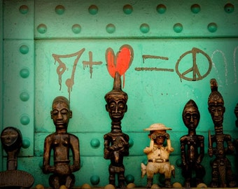 New York Street Art - Graffiti - Music, Love, Peace - African Folk Art - African Sculpture - New York Heart - We love Peace - My Heart