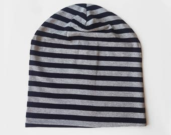 Striped beanie / Adult's slouchy hat / Knit hat / Cotton beanie