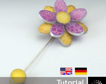 "Polymer Clay PDF Tutorial ""Etched Flower Brooch"""