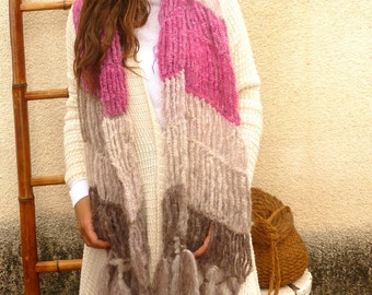 Shabby Chic Pink and Grey Scarf. Handmade Crochet Stole. Mohair & Wool. Fall-Winter Fashion Accessories