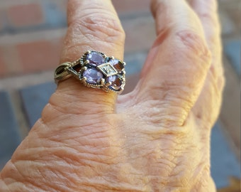 amethyst ring size 6 1970's 1ct deco filigree scroll genuine natural amethyst and white sapphire designer sterling estate vintage ring
