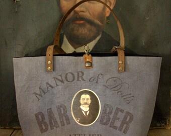 """Medium tote bag """"BaRBER"""" Studio blue/grey"""