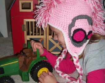 Pink Tractor Mohawk Hat