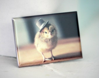 Chicks in Hats Chicken in A Top Hat Rigid Refrigerator Magnet