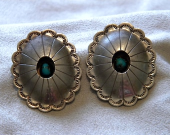 Sterling Silver Concho Shadowbox Earrings with Turquoise