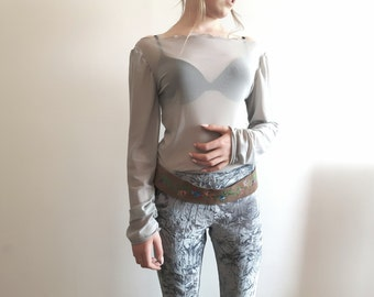 Off the shoulder extra long sleeve mesh sheer top