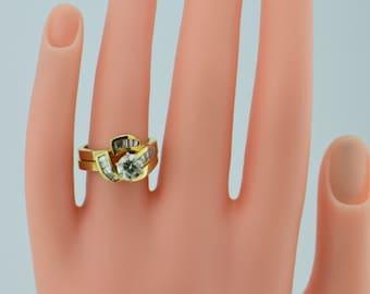 14K Yellow Gold Diamond Engagement Ring & Wedding Band Set, Size 6.25