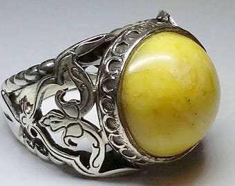 925 Sterling Silver Men's Ring with Totally Handmade Precious Real Amber