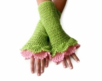 Crochet Fingerless Gloves , Green, Pink, Elegant, Shabby, Chic, Lace gloves