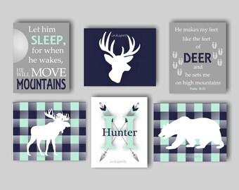 Baby Boy Nursery Art, Deer Nursery Bedding Decor, Woodland Nursery, Moose Nursery, Bear Nursery, Bear, Moose, Buck, Choose Colors WD4438