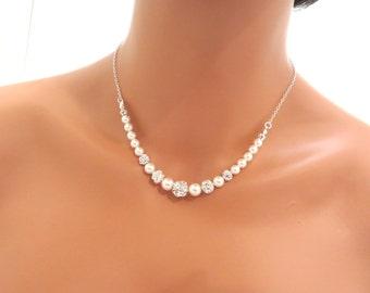Pearl Wedding necklace, Crystal Bridal necklace, Wedding jewelry, Bridesmaid jewelry, Swarovski crystal necklace, Classic pearl necklace