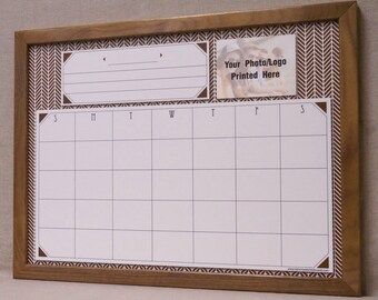 Brown Herringbone Monthly Dry Erase Calendar - Framed White Board Organizer - Custom Family Command Center Organizer Whiteboard Personalized