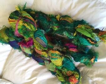 SALE 100 grams 1 skeins recycled silk   ribbon  knitting crochet craft embellishment yarn green emerald mix