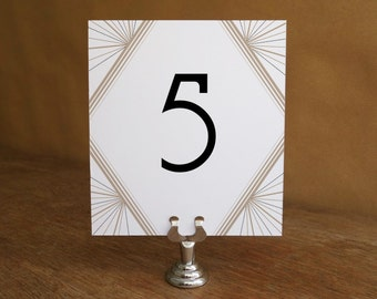 Printable Table Number - Table Number Template - Instant Download - Wedding Table Number PDF - Art Deco Table Number - Gatsby Table Number