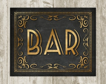 Art Deco Bar Printable Wall Art, Chalkboard Bar Poster, Bar Print, Gold Black Bar Wall Art, Retro Bar Sign 8x10 11x14 16x20 Instant Download