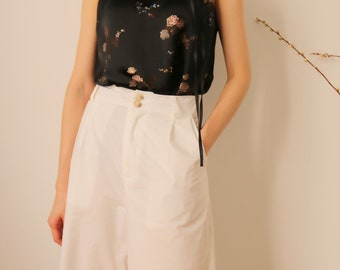 Fleuris Top -chinoiserie inspired embroidered silk halter neck top / mandarin collar (size Small)