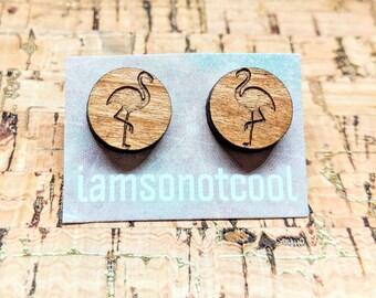 Flamingo Earrings / Wood Stud Earrings / Laser-Cut Flamingo Studs / Walnut Wood Earrings, Flamingo Stud Earrings / Hypoallergenic
