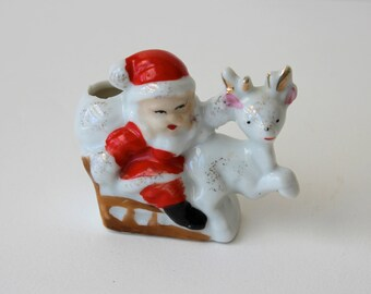 Vintage Santa on Sleigh with Reindeer Japan