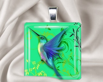 Jeweled  Hummingbird  Glass Tile Pendant Necklace