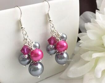 Hot Pink Earrings Grey Earrings Bridesmaid Earrings Fuchsia Earrings Bridesmaid Gift for Her Wedding Jewelry