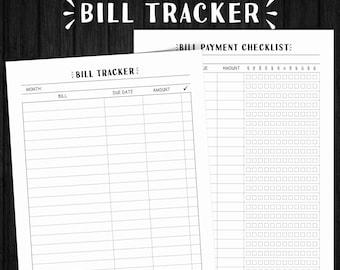 Monthly Bill Tracker, Bill Tracker, Bills Checklist, Bill Tracker Printable, Money Organizer, Bill Checklist, Bill Planner, Budget Planner
