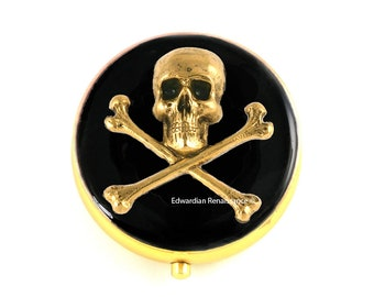 Skull and Crossbones Pill Box Inlaid in Hand Painted Black Enamel Goth Inspired with Personalized and Color Options Available
