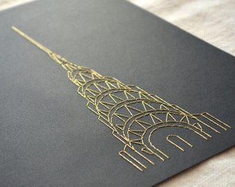 Chrysler Building Wall Art Embroidery on Paper - Gold or Silver on Black