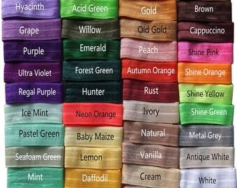"5/8"" Solid FOE Fold Over Elastic ribbon DIY Sewing elastic Hair elastic bands Garment accessories 50 yards/lot 5 yards/bundle U pick colors"