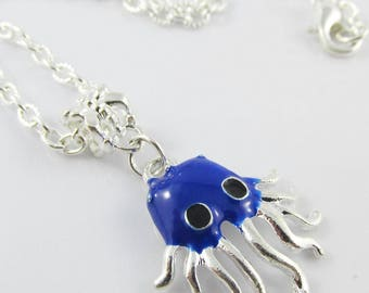 Enamel Octopus Charm Necklace 45cm Silver Plate Chain Select Dark or Light Blue