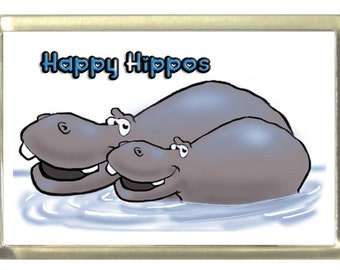 Happy Hippos Fridge Magnet 7cm by 4.5cm,