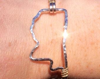 Mississippi Outline bracelet Hammered in Argentium Silver wrapped in 14K Gold Fill, Mississippi state bracelet, Mississippi bracelet
