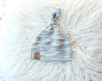 Soft grey loop knot beanie | newborn beanie | newborn hat | infant beanie | baby's first hat | newborn gift | baby hat | neutral